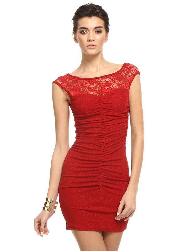 kırmızı dantel elbise modelleri 13