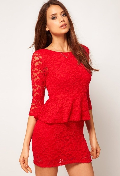 kırmızı dantel elbise modelleri 15