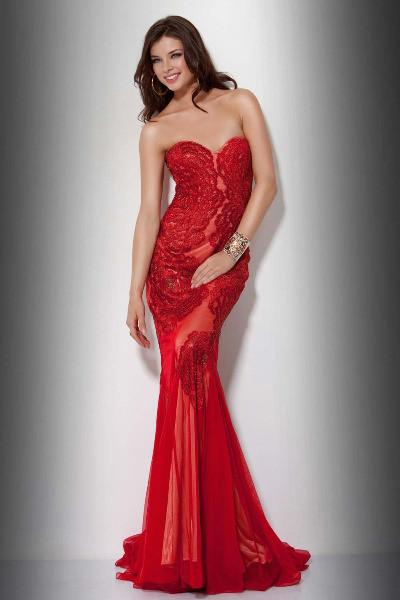 kırmızı dantel elbise modelleri 16