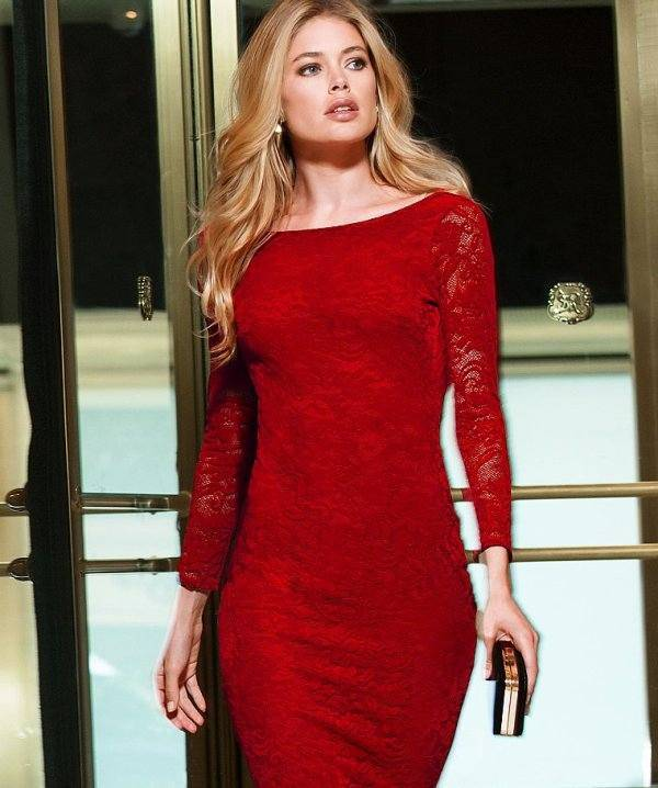 kırmızı dantel elbise modelleri 4