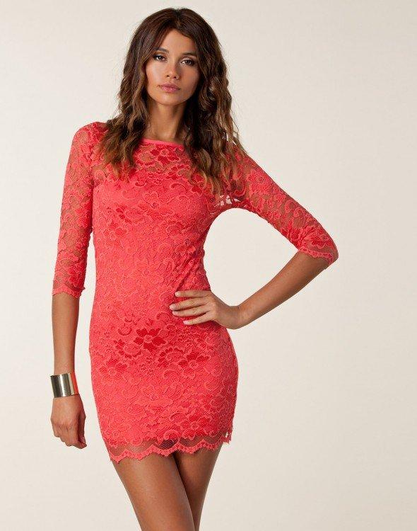 kırmızı dantel elbise modelleri 6