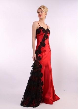 kırmızı dantel elbise modelleri 8
