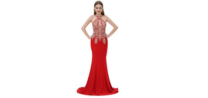kırmızı dar elbiseler
